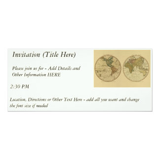 Antique 1786 World Map by William Faden 4x9.25 Paper Invitation Card