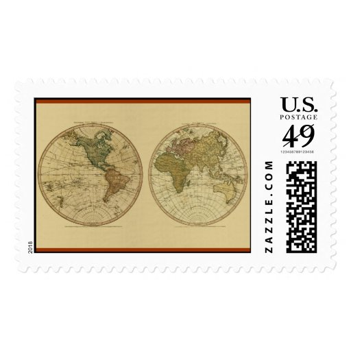 Antique 1786 World Map by William Faden Postage Stamps