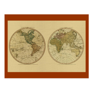 Antique 1786 World Map by William Faden Postcard