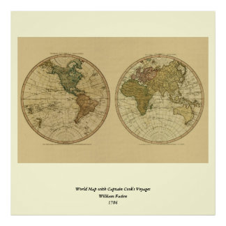 Antique 1786 World Map by William Faden Poster