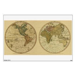 Antique 1786 World Map by William Faden Wall Sticker