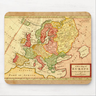 Antique 17th Century Herman Moll Map of Europe Mousepads
