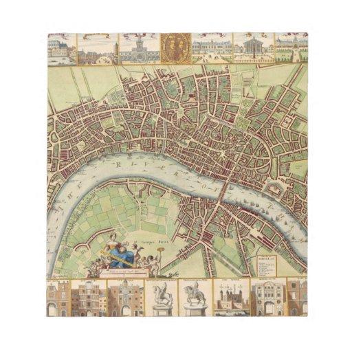 Antique 17th Century London Map W. Hollar Notepad