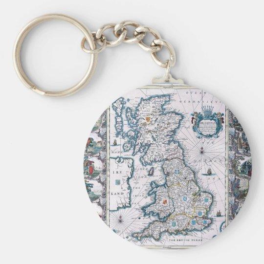 Antique 17th Century Map Keychain