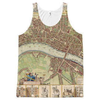 Antique 17th Century Map of London W. Hollar All-Over-Print Tank Top