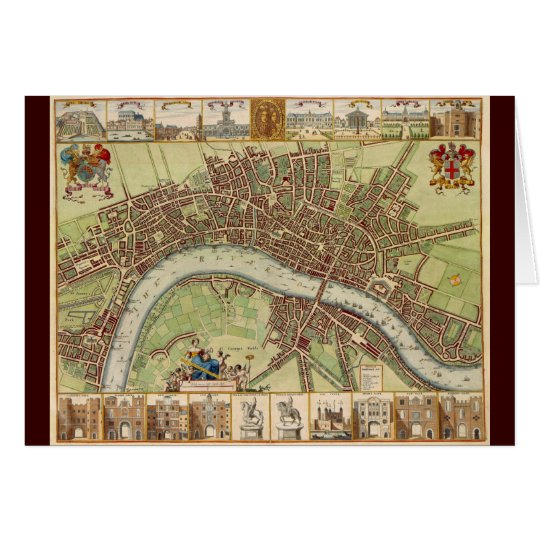 Antique 17th Century Map of London W. Hollar Card