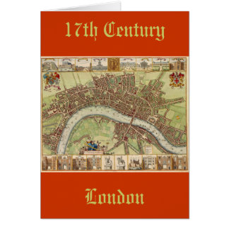 Antique 17th Century Map of London W. Hollar Card