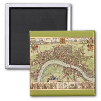 Antique 17th Century Map of London W. Hollar Magnet
