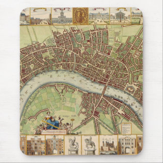 Antique 17th Century Map of London W. Hollar Mouse Pad