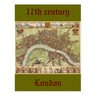 Antique 17th Century Map of London W. Hollar Postcard