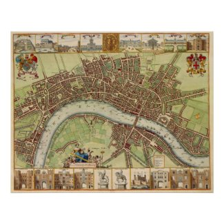 Antique 17th Century Map of London W. Hollar Posters