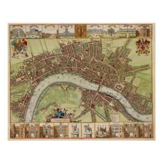 Antique 17th Century Map of London W. Hollar Poster