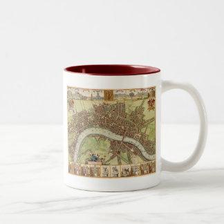 Antique 17th Century Map of London W. Hollar Two-Tone Coffee Mug