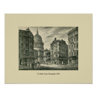 Antique 1800 London St. Paul's from Cheapside Print
