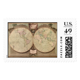 Antique 1808 World Map by Laurie and Whittle Stamp