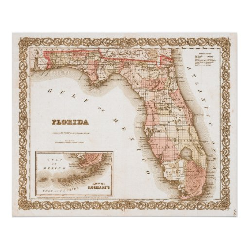 Antique 1855 Map of Florida Poster