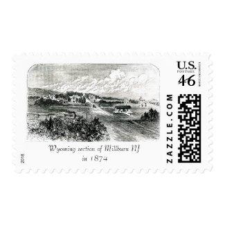 Antique 1874 Sketch Wyoming in Millburn NJ Stamp stamp
