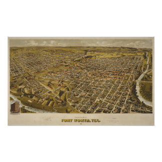 Antique 1891 Map of Fort Worth, Texas, USA Poster