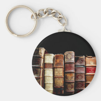Antique 18th Century Design Leather Binding books Basic Round Button Keychain
