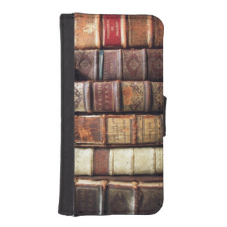Antique 18th Century Design Leather Binding books Phone Wallet Case