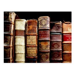 Antique 18th Century Design Leather Binding books Postcard