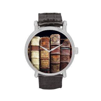Antique 18th Century Design Leather Binding books Wristwatch