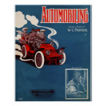 Antique 1905 automobile music sheet cover poster