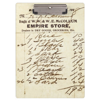 Antique 1908 Millburn (NJ) Store Invoice Clipboard