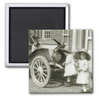 Antique 1911 Roadster 2 Inch Square Magnet