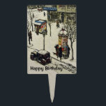 "Antique 1920s Car Snow Covered Vintage Town Cake Topper<br><div class=""desc"">This Birthday cake topper decoration has a vintage image of an old small town street with shops and people in the winter covered in snow with a black antique 1920&#39;s car parked in the street.  Customize the Happy Birthday text with the template.</div>"