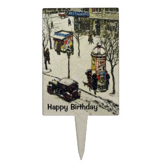 Antique 1920s Car Snow Covered Vintage Town Cake Topper