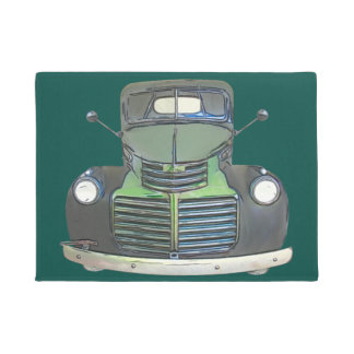 Antique 1947 Truck Sketch Door Mat Rug