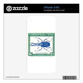 Antique 1948 Chile Stag Beetle Postage Stamp Decals For The iPhone 4