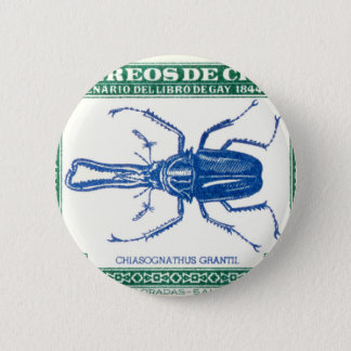 Antique 1948 Chile Stag Beetle Postage Stamp Pinback Button