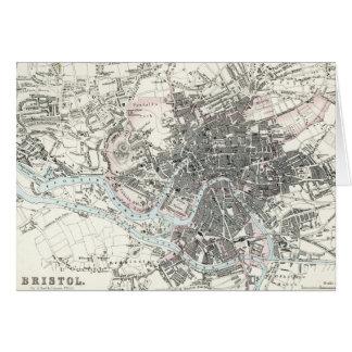 Antique 19th Century Map of Bristol England Card
