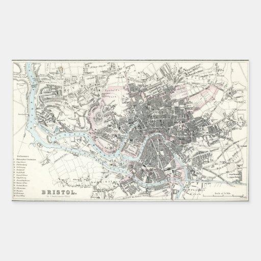 Antique 19th Century Map of Bristol England Rectangular Sticker