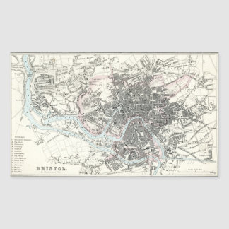 Antique 19th Century Map of Bristol England Stickers