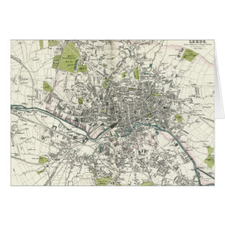 Antique 19th Century Map of Leeds Card