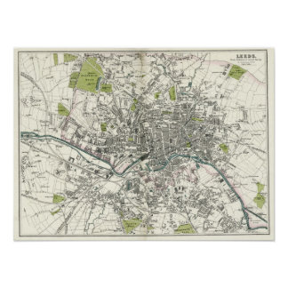 Antique 19th Century Map of Leeds Poster