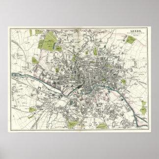 Antique 19th Century Map of Leeds Print