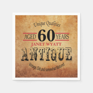 Antique 60th Birthday Design Paper Napkin