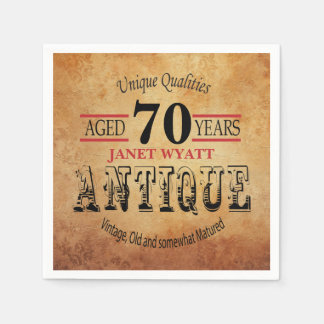 Antique 70th Birthday Design Paper Napkin