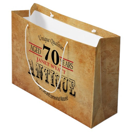 Antique 70th Birthday Large Gift Bag