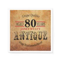 Antique 80th Birthday Design Napkin