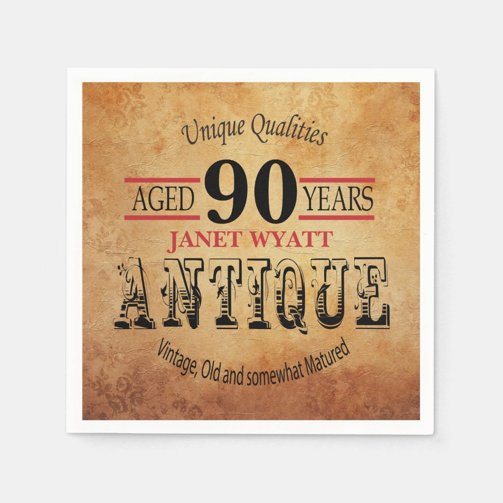 Antique 90th Birthday Design Paper Napkin