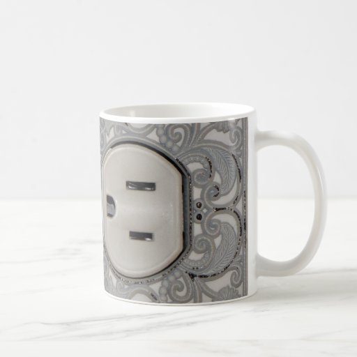 Antique A/C Outlet Coffee Cup Classic White Coffee Mug