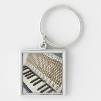 Antique Accordion Keyboard Silver-Colored Square Keychain