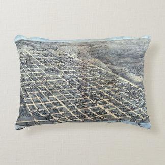 Antique Aerial City Map of Austin, Texas, 1873 Decorative Pillow