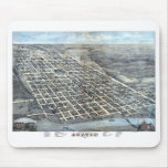 Antique Aerial City Map of Austin, Texas, 1873 Mouse Pad