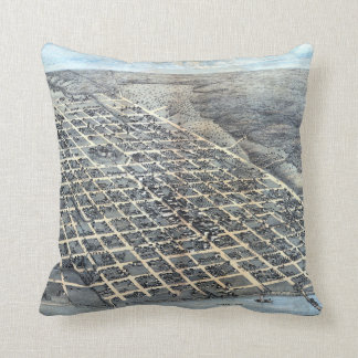 Antique Aerial City Map of Austin, Texas, 1873 Throw Pillow